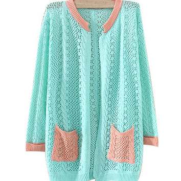 Blue Crochet Knitted Cardigan with Crocheted Pockets