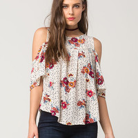 EYESHADOW Floral Ruffle Womens Top | Blouses