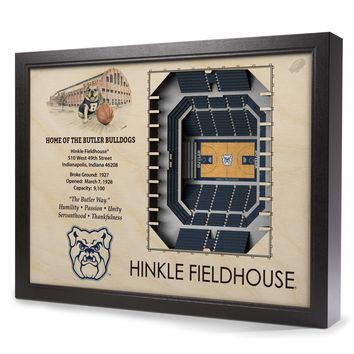 Butler Bulldogs | 3D Stadium View | Hinkle Fieldhouse | Wall Art | Wood