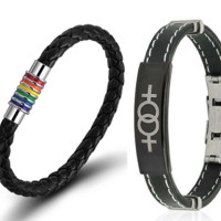 Steel Lesbian Bracelet & Rainbow Leather Bracelet