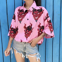 Devil Button Up Top