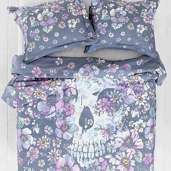 Plum & Bow Skull Flower Duvet Cover- Purple Multi