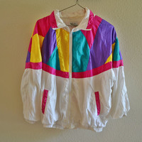 Rainbow Windbreaker Oversized Vintage 90s 80s M