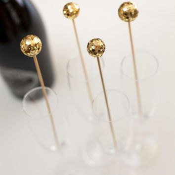 Gold Glitter Drink Stirrers