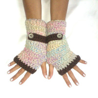 Multicolor  Fingerless gloves cozy gloves  multicolor tbeige blue brown pink yellow  gloves arm warmers free shipping