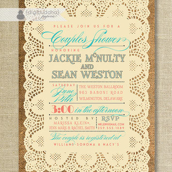 Lace Burlap Couples Shower Invitation Vintage Rustic Coral & Turquoise Text Wedding Bridal Invitation Digital or Printed - Jackie Style