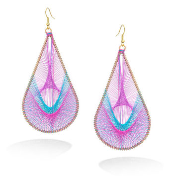 Gold-Tone Purple Turquoise And Pink Thread Teardrop Earrings