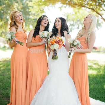 Fall Wedding Sweetheart Chiffon Floor Length Long Free Shipping Peach Bridesmaid Dresses