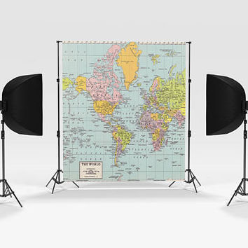 World Map Photography Backdrop - portrait supplies, photographer, hanging backdrop, travel photo, pastel photo supply