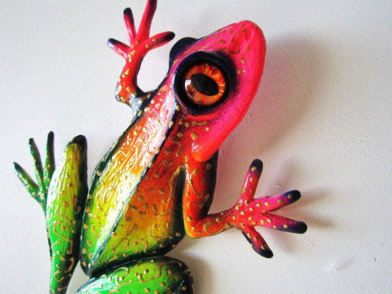 Frog Art Wall Decor Whimsical Colorful From Artistjp On Etsy