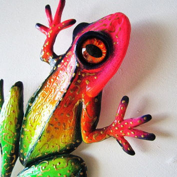Frog art wall decor whimsical colorful frog sculpture
