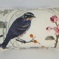 "Splendor Bird Toile Pillow White Linen Sparrow or Hawk Cover and Insert 13 x 22"" Rectangle Oblong  Cherry Blossoms  ( C )"