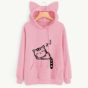 2018 Spring and Autumn New Cartoon Loose Fleece Sleeping Cat Ears Hat Cartoon Print Hoodies Top Clothes Women's Sweatshirts