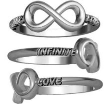 My Associates Store - Infinite Love Carved Flowing Infinity Ring, 14mmx7mm in Sterling Silver - size 5