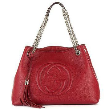DCCKUG3 Gucci Womens Soho Leather Chain Straps Shoulder Handbag Red Large