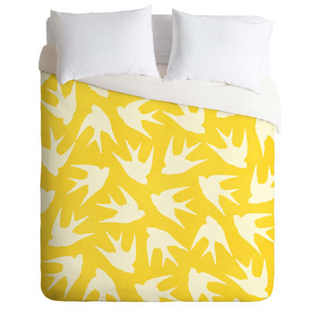 Jacqueline Maldonado Birds Yellow Duvet Cover