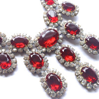 Red Rhinestone Statement Necklace Boho Mad Men Retro Party Jewelry