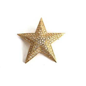 Joan Rivers Star Brooch with Pave Set Crystals, Large Rhinestone Star Pin, Signed Designer Vintage Jewelry, Star for Brooch Christmas Tree