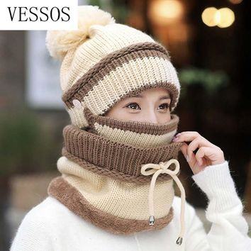 3pcs/Set Knitted Wool Hat Mask Scarf Set Fashion 2019 Knitted Cap Plus Velvet Winter Hat Woman Warm Thicken Hedging Cap Ski Soft