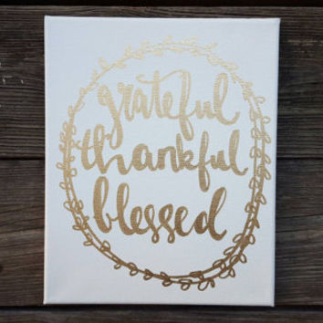 Grateful Thankful Blessed Sign Canvas Quote Art Home Decor Thanksgiving Autumn Wall Hanging Office Decor Fall Art Gold Foil Handmade Canvas