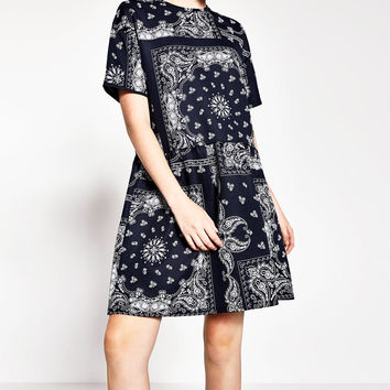 PRINTED FLOUNCE DRESS
