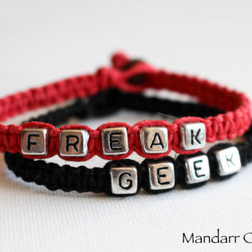 Bracelets for Couples, Best Friends, Freak Geek, Handmade Red and Black Hemp Jewelry, Set of Two, His Hers