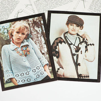 Soviet DIY Knitting Leaflets more than 20 patterns Soviet fashion trends 80s, Cottage Cardigans Sweaters Knitting Patterns, DIY Instructions
