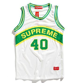 Supreme Fashion Summer Casual Letter Print Mesh Comfortable Breathable Sleeveless Hip Hop Basketball Vest Top White I12734-1