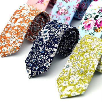 New Casual 100% Cotton Ties For Men Vintage Printed Floral Slim Suit Necktie Party Ties