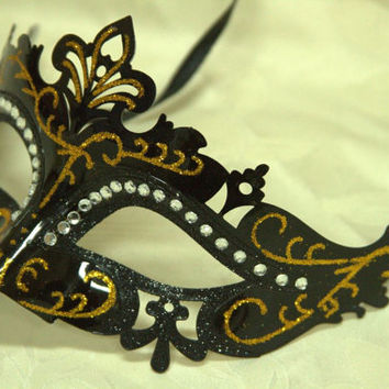 Black Venetian Masquerade Laser Cut Mask with Rhinestones