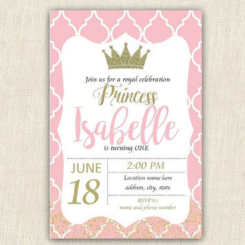 Princess birthday invitation, PRINTABLE invitation, princess party, DIGITAL DOWNLOAD, 4x6 birthday invitation