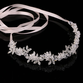 Transparent Crystal bridal tiaras headband bride wreath wedding flower headdress noble hair ornament hair Jewelry Hair Band