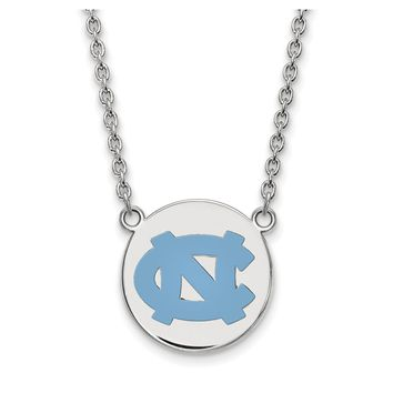 NCAA Sterling Silver North Carolina Large Enamel Disc Pendant Necklace