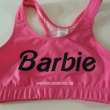 Bar Bar Pink/Black Cotton Sports Bra by SparkleBowsCheer on Etsy