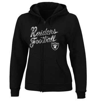Oakland Raiders Women's Plus Sizes Full Zip Long Sleeve Fleece Hoodie - Black