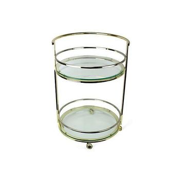 Pre-owned Hollywood Regency 2-Tiered Round Bar Cart