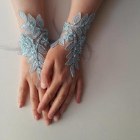 Beaded turquaz, lace wedding gloves, costume gloves,dress gloves, free shipping!