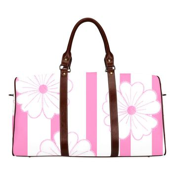 Women's Pink Stripes & Flowers Brown Travel Bag