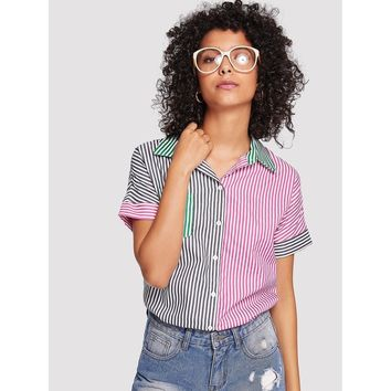 Single Pocket Color Block Striped Shirt