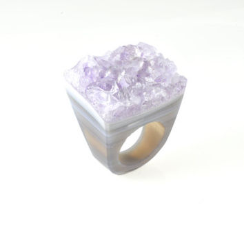 Size 5.75, Solid agate ring, natural amethyst ring, agate ring, solid druzy ring, druzy ring, stone ring, solid stone ring, amethyst ring