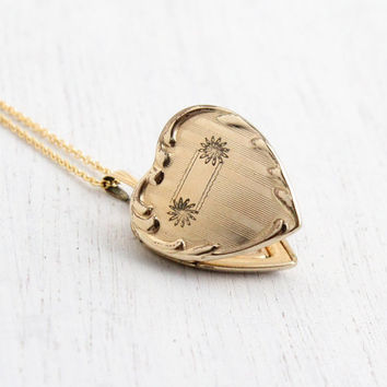 Vintage 12k Gold Filled Heart Locket Necklace - 1940s WWII Era Sweetheart Flower Jewelry Hallmarked H.F.B