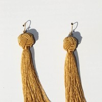Francesca Knot Tassel Camel Earrings