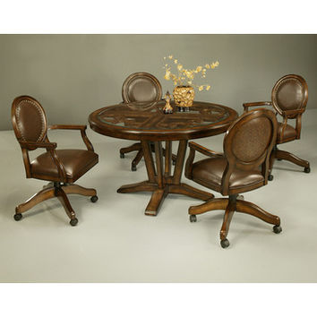 Pastel Devon Coast 5 Piece Round Glass Dining Room Set in Distressed Cherry w/ Naples Bay Caster Chairs