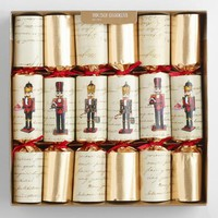 Large Ivory and Gold Nutcracker Crackers 6 Count