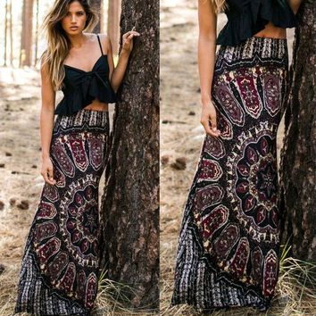 Beach Clothing Casual Summer Sexy Women Skirts BOHO Hippy Women Summer Floral Vintage Long Maxi Slim Skinny Skirt