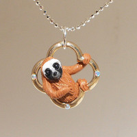 "fanART- ""Lucky sloths hang around"" (gold)-unique sloth, gift for her, cool gift for teenager, easter gift, st. patrick's day"