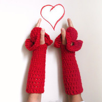 Fingerless Winter Gloves by giZZdesign, fashion under 25, red, crochet, long, Valentine's gift, mittens, Choose your color....Christmas