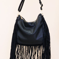 Suede Leather Fringe Tote Bag - Black