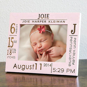 personalized birth announcement picture frame w stats baby name wood engraved color