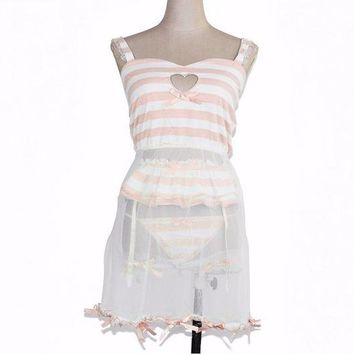 Cute Love Cut-Out Hollow Out Sexy Ladies Pajamas Pink Modal Dress  And Garter Pants And Lace Leg Ring Blue Stripe Homewear Women